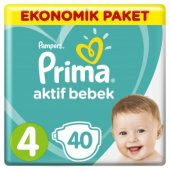 Prima Bebek Bezi Aktif Bebek Ekonomik Paketi 4 Beden 40 Adet
