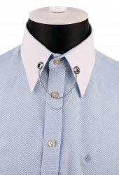Gümüş Renk Taşlı Zincirli Gömlek Yaka İğnesi Gı143