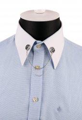 Gümüş Renk Taşlı Zincirli Gömlek Yaka İğnesi Gı156