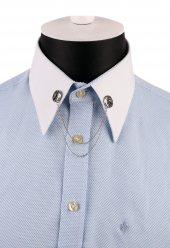 Gümüş Renk Taşlı Zincirli Gömlek Yaka İğnesi Gı158