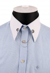 Gümüş Renk Taşlı Zincirli Gömlek Yaka İğnesi Gı155
