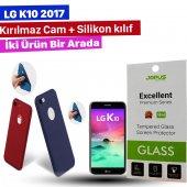 Jopus Lg K10 2017 Kılıf + Temperli Kırılmaz Cam Ekran Koruyucu