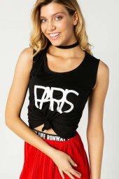 Paris Baskılı Kolsuz Bayan T Shirt Siyah 0283