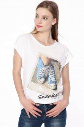 Baskılı T Shirt Bayan Beyaz 0284