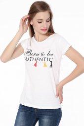 Baskılı Bayan T Shirt Beyaz 0291