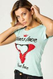Baskılı Bayan T Shirt Mint 0279