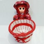 Peluş Askılı Bebek Sepeti Prenses Kırmızı