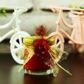 Kırmızı Süslü Mini Kavanoz Mum