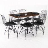 Evform Zenit 6 Kişilik Mermer Desen Masa Sandalye Takımı