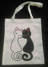 Kedi Ve Aşk Temalı Bez Çanta Tote Bag