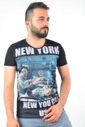 New York Baskılı Siyah Tshirt