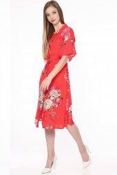Gömlek Yaka Çiçekli Elbise Kırmızı 0917