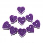 20 Adet Mor Lavanta Kokulu Kalpli Küçük Mumlar, Kalp Şeklinde Mum