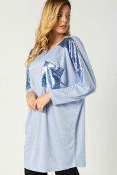 Payetli Yarasa Kol Tunik Mavi 107