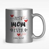 Kişiye Özel En İyi Anne Tasarımlı Gümüş Yaldızlı Kupa Bardak 5