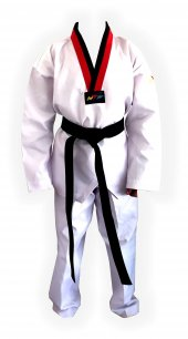 Pum Yaka (Kırmızı Siyah Yaka) Fitilli Taekwondo Elbisesi