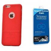 Iphone 6s Plus Benekli Silikon Kılıf Kırmızı + Cam Ekran Koruyucu
