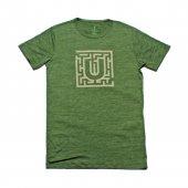 Erkek Labirent Baskılı Yeşil Tişört