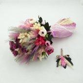 3 Boyutlu Fuşya Kuru Gelin Buketi Damat Yaka Çiçeği Hediyeli