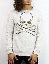 Sweatshirt Kurukafalı Kabartma Baskı Renk Gri