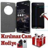 Asus Zenfone 6 Kılıf Flip Cover Kırılmaz Cam
