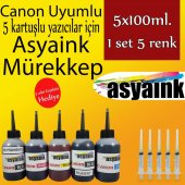 Asyaink Canon Pıxma Mg6650 Pgı 550 Clı 551 5x100ml Mürekkep Set
