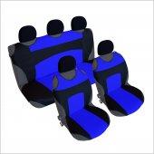3&#039 Lü Set Spor Oto Koltuk Kılıfı Atlet Kılıfı Siyah Mavi + 5 Adet Başlık