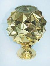 Cam Dekoratif Üçgen Kabartmalı Altın Renk Vazo 30 Cm