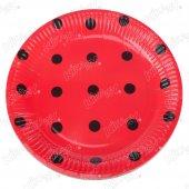 16 Adet Kikajoy Kırmızı Üzeri Siyah Puantiyeli Karton Tabak