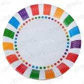16 Adet Kikajoy Renkli Çizgiler Karton Tabak