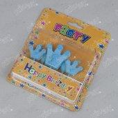 Kikajoy 5 Adet 1 Yaş Mavi Kral Taçlı Doğum Günü Kürdan Mum