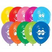 100 Adet Gülen Yüz Baskılı Balon + Balon Pompası