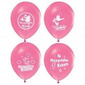 100 Adet Hoşgeldin Kızım Baskılı Balon + Balon Pompası