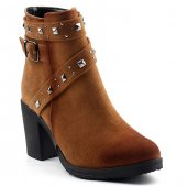 Ayakland 151 Acs Taba 7 Cm Topuk Fermuarlı Bayan Bot Ayakkabı
