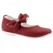 Sema 19 Kırmızı Günlük Abiye Kemerli Tokalı Kız Çocuk Babet Ayakkabı