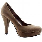 Paddy 2735 Vizon Platform İnce Topuk Abiye Bayan Süet Ayakkabı