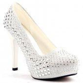 Lady Rachel Beyaz Platform 12 Cm Topuk Abiye Gelin Bayan Ayakkabı