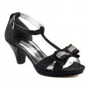 Sarıkaya 578 Siyah Abiye Taşlı 4,5cm Topuklu Kız Çocuk Ayakkabı