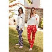Feyza Kadın Bayan Kadın 3 Lü Hırkalı Kolsuz Tşört Pijama Takımı 3