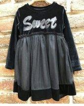 Sweet Kız Çocuk İnci Kadife Tüllü Elbise 1009
