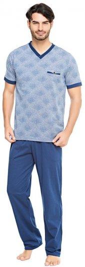 çift Kaplan 8075 100 Pamuk V Yaka Erkek Pijama Takım