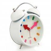 Beyaz Renkli Metal Işıklı Zilli Alarmlı Çalar Masa Saati Stm165