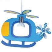 Mavi Renk Helikopter Model Çocuk Odası Avizesi
