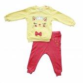 Taçlı Kedicik 2li Kız Bebek Eşofman Takım Sarı