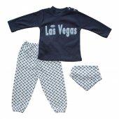 Las Vegas Kabartma Baskılı Fularlı 3lü Erkek Bebek Eşofman Takım