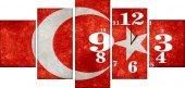 Saatli Bayrak Parça Kanvas Tablo
