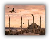 Istanbul Temalı Saatli Tablo