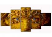 Sarı Maske 5 Parça Kanvas Tablo