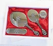 Camomile Lüks Silver Kartanesi Ayna Fırça Tuvalet Takımı