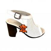 Elegra 01853 Deri Beyaz Kadın Sandalet
